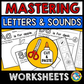 BEGINNING SOUNDS WORKSHEETS (ALPHABET ACTIVITIES) CUT AND PASTE PRINTABLES