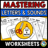 ALPHABET WORKSHEETS (BEGINNING SOUNDS MATCH) CUT AND PASTE ACTIVITY PHONICS