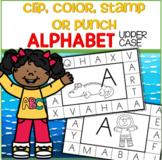 ALPHABET Upper Case - Clip, Color, Stamp or Punch Cards