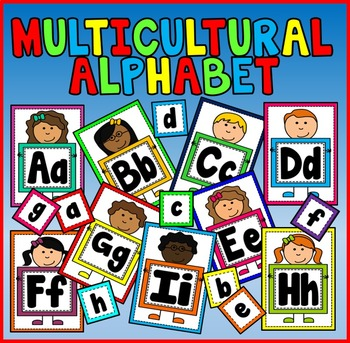 ALPHABET FLASHCARDS POSTERS - A4 - MULTICULTURAL DIVERSITY letters sounds
