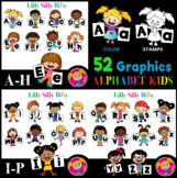 ALPHABET KIDS - B/W & Color clipart illustrations, {Lilly