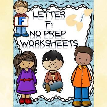 Alphabet Letter of the Week: Letter F (No Prep Worksheets)
