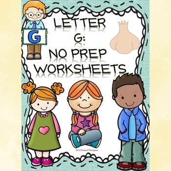 Alphabet Letter of the Week: Letter G (No Prep Worksheets)