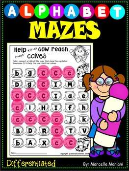 ALPHABET LETTER MAZES-letter Recognition & Identification- Differentiated