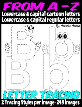 ALPHABET LETTER TRACING FROM A-Z (248 IMAGES)