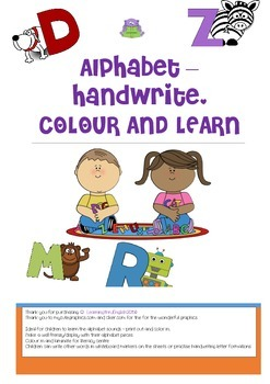 ALPHABET LETTERS  AND HANDWRITING WORD SHEETS TO LAMINATE
