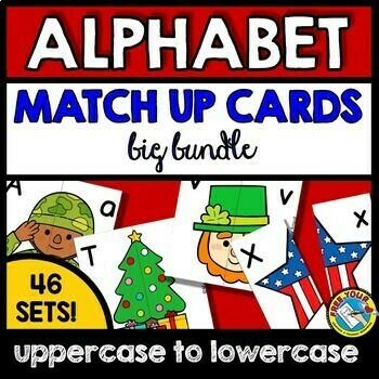ALPHABET LETTERS MATCH UP CARDS,  WINTER ACTIVITY KINDERGARTEN CENTER