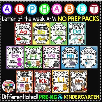 Letter of The Week ALPHABET WORKSHEETS- NO PREP-BUNDLE 1 (LETTERS A-M)