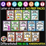 Letter of The Week ALPHABET WORKSHEETS- NO PREP-BUNDLE 1 (LETTERS A-M)