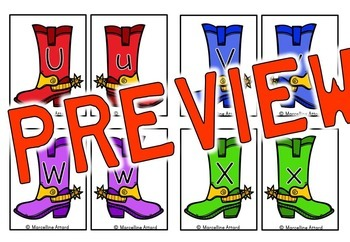 WESTERN THEME ALPHABET LETTER MATCHING UPPERCASE AND LOWERCASE ACTIVITY