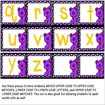 Bear Alphabet Matching Center and Activity Set