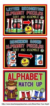 BEGINNING SOUNDS LITERACY CENTERS KINDERGARTEN (ALPHABET LETTERS AND SOUNDS)