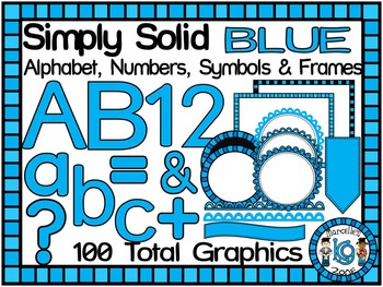 SIMPLY BLUE-ALPHABET, NUMBERS, SYMBOLS & FRAMES CLIP ART- (100 IMAGES)