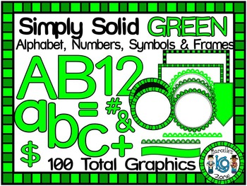 SIMPLY GREEN-ALPHABET, NUMBERS, SYMBOLS & FRAMES CLIP ART- (100 IMAGES)