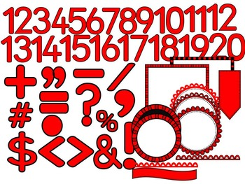 SIMPLY RED-ALPHABET, NUMBERS, SYMBOLS & FRAMES CLIP ART- (100 IMAGES)