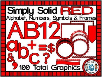 SIMPLY RED-ALPHABET, NUMBERS, SYMBOLS & FRAMES CLIP ART- (