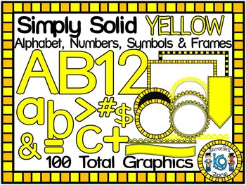 SIMPLY YELLOW-ALPHABET, NUMBERS, SYMBOLS & FRAMES CLIP ART- (100 IMAGES)