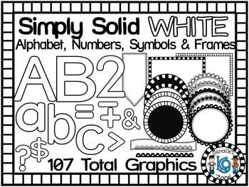 SIMPLY WHITE-ALPHABET, NUMBERS, SYMBOLS & FRAMES CLIP ART-