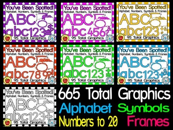 LETTERS, NUMBERS, SYMBOLS & FRAMES- (665 IMAGES) YOU'VE BEEN SPOTTED CLIP ART