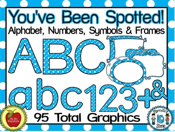 LETTERS, NUMBERS, SYMBOLS & FRAMES- (95 IMAGES) YOU'VE BEEN SPOTTED CLIP ART