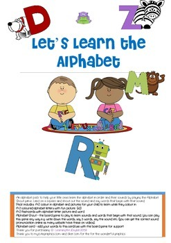 ALPHABET PACK - LETS LEARN THE ALPHABET - INCLUDES FUN BOARD GAME AND WORD LIST