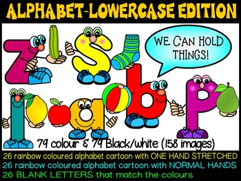 ALPHABET CARTOON CLIP ART- LETTER CHARACTER PEOPLE (lowercase)