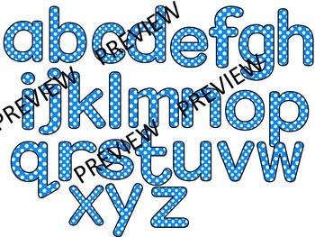 ALPHABET POLKA DOT CLIP ART LETTERS- BLUE- 52 LETTERS (CU)
