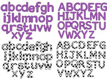 ALPHABET POLKA DOT CLIP ART LETTERS- BUNDLE PACK- 416 LETTERS (CU)