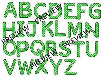 ALPHABET POLKA DOT CLIP ART LETTERS-GREEN- 52 LETTERS (CU)