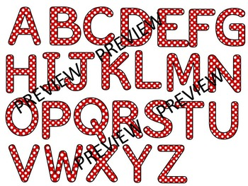 ALPHABET POLKA DOT CLIP ART LETTERS-RED POLKA DOTS- 52 LETTERS (CU)