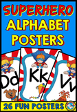 SUPERHERO CLASSROOM THEME DECOR (ALPHABET POSTERS WITH PICTURES)