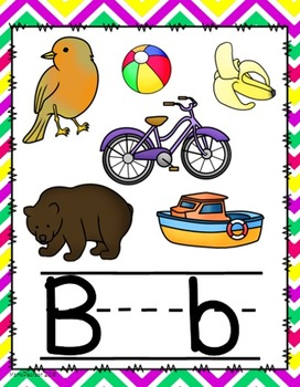 Chevron Bright Colors Alphabet Posters