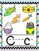 Chevron Yellow, Gray, and Teal Alphabet Posters