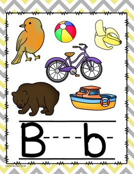 Chevron Yellow and Gray Alphabet Posters