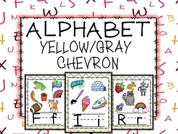 Chevron Yellow and Gray Alphabet Posters