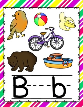 Diagonal Bright Colors Alphabet Posters