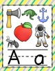 Diagonal Yellow, Gray, and Teal Alphabet Posters