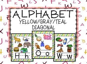 ALPHABET POSTERS: Diagonal Yellow, Gray, and Teal Alphabet