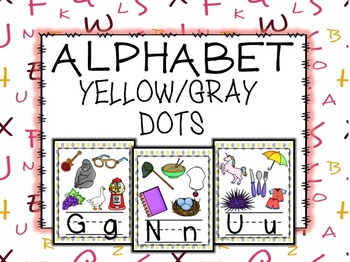 Dots Yellow and Gray Alphabet Posters