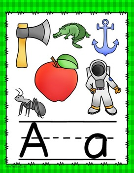 Green Gingham Alphabet Posters