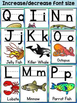 ALPHABET POSTERS: OCEAN ANIMALS THEME CLASS DECOR