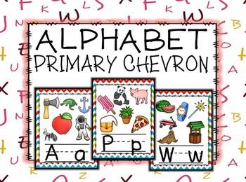 Primary Colors Chevron Alphabet Posters