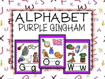 Purple Gingham Alphabet Posters