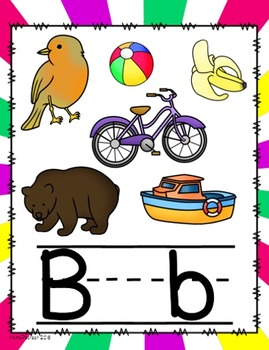 Spiral Bright Colors Alphabet Posters