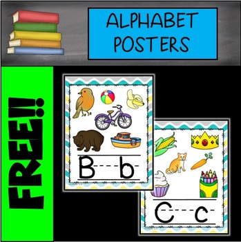 FREE Yellow, Gray, and Blue Waves Alphabet Posters