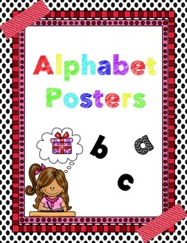Black, White with Red ALPHABET POSTERS with picture name