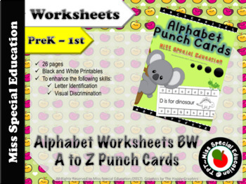 ALPHABET Punch Cards for Preschool, Kindergarten, First Grade - B&W - PRINTABLE