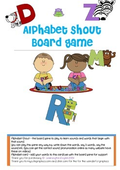ALPHABET SOUND BOARD GAME WITH SUPPORTING WORD LIST