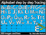 ALPHABET TRACING LETTERS CLIPART- STEP BY STEP LETTER TRACING