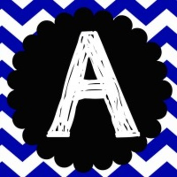 ALPHABET WALL LETTERS - BLACK AND BLUE CHEVRON